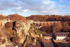 Река и крепость Alzette остаются в Люксембурге Стоковое фото RF