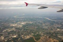 река и поселение chaopraya вида с воздуха в Бангкоке Таиланде Стоковое фото RF