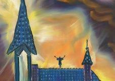 река картины маслом ландшафта пущи Красивый собор на ноче Молитва иллюстрация вектора