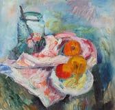 река картины маслом ландшафта пущи Натюрморт с бутылкой и яблоками Стоковое Фото