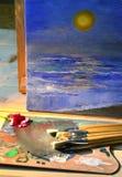 река картины маслом ландшафта пущи Стоковые Изображения