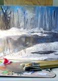 река картины маслом ландшафта пущи Стоковое Изображение RF