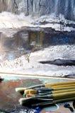 река картины маслом ландшафта пущи Стоковое Изображение
