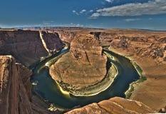 Река Колорадо на каньоне Horseshoe загиба грандиозном Стоковые Изображения RF