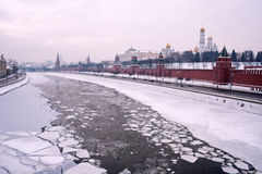 Река Кремль зимы Москвы стоковая фотография rf
