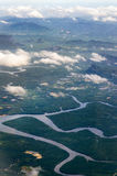 Река кривой от самолета воздуха Стоковая Фотография