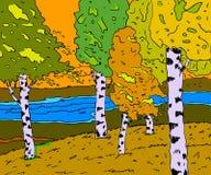 река ландшафта пущи осени солнечное иллюстрация вектора