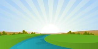 река ландшафта шаржа Стоковое фото RF