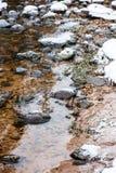 Река леса в зиме Amata в Латвии стоковое изображение