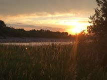 Река Монтаны захода солнца Стоковое фото RF