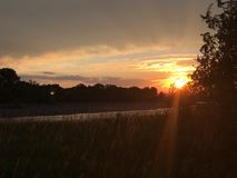 Река Монтаны захода солнца Стоковая Фотография RF