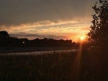 Река Монтаны захода солнца Стоковое Изображение RF
