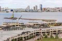 Река, набережная и ландшафт города Казани стоковые фотографии rf