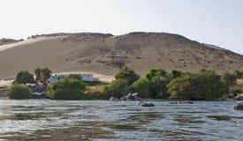 река Нила дома aswan Стоковое Фото