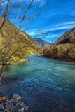 Река одно Bzyb самых больших рек абхазии Стоковая Фотография
