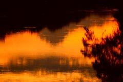 Река отражения и дерево тени в природе захода солнца воды красивой Стоковые Фото