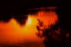 Река отражения и дерево тени в природе захода солнца воды красивой Стоковые Изображения RF
