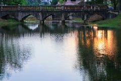 Река отражения и дерево тени в природе захода солнца воды красивой Стоковое фото RF