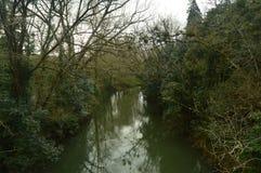 Река очень близко к замку Butron, замку построенному в средних возрастах Перемещение природы реки Стоковое Изображение RF