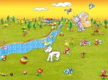 Река пересекает собаку холма Стоковое Изображение
