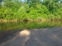 Река, песок, и деревья Стоковое Изображение RF