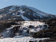 Река плавя снега бежать вниз от горы Стоковые Фото