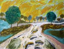 Река покрашенное рукой Стоковая Фотография