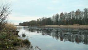 Река покрыто с тонким льдом видеоматериал