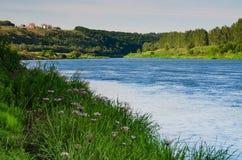 Река потока пропускает на зеленом участке земли Стоковая Фотография