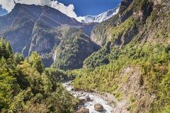 Река приходя через долину между большими горами Стоковая Фотография