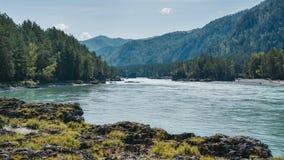 Река пропускает на фоне гор покрытых с лесом под голубым небом Стоковые Фотографии RF