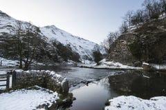 Река пропуская через снег покрыло ландшафт зимы в лесе va Стоковая Фотография RF