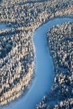 Река пущи в дне зимы Стоковые Фотографии RF