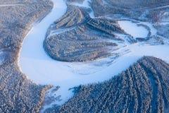 Река пущи в дне зимы Стоковая Фотография