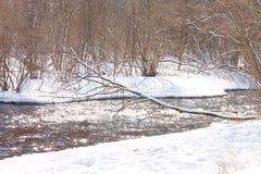 Река раскрыло от льда и покрытых снег берегов реки Стоковое Изображение