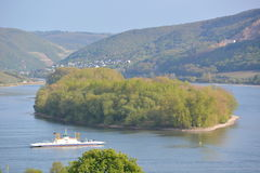 Река Рейн с паромом Стоковое Фото
