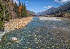 Река русский северный Кавказ горы ландшафта осени Стоковые Фото
