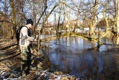 река рыболовства в феврале Стоковое фото RF