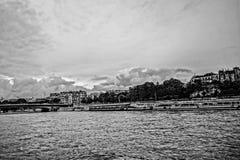 Река Сена, Париж, Франция, черно-белая Стоковое Изображение