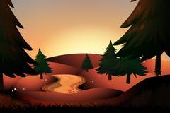 Река силуэта бежать вниз с холмов Стоковая Фотография
