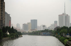 Река Сучжоу в центре Шанхая Стоковое Изображение