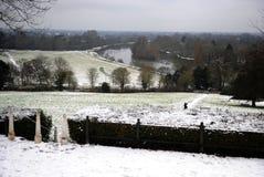 Река Темза в снеге Стоковые Фото