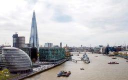 Река Темза от моста башни, Лондон, Великобритания Стоковые Изображения RF