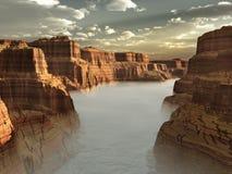 река тумана каньона Стоковые Изображения