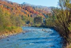 Река Украина прикарпатской горы осени стоковые изображения