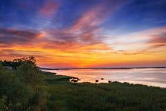река утра рыболовства рассвета Стоковые Фото