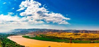 Река Хуанхэ в Shapotou Стоковая Фотография RF
