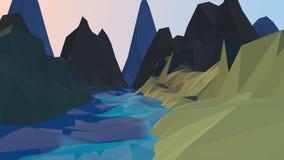 Река шаржа и предпосылка гор низкая поли стоковое фото