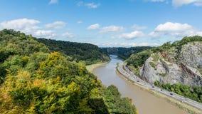 Река Эвон и ландшафт от доверия висячего моста Клифтона в Бристоле, Великобритании Стоковая Фотография RF