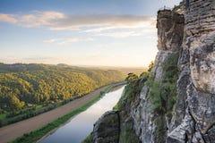 Река Эльба в горах песчаника Эльбы Стоковые Фотографии RF